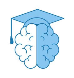 Brain with graduation cap vector
