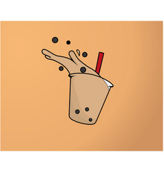 Bubble tea is splashing and spilling vector