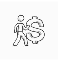 Businessman with big dollar symbol sketch icon vector image
