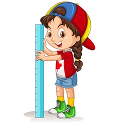 Canadian girl with measuring ruler vector image