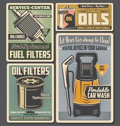 car service auto parts oil and fuel vector image