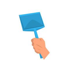 Cartoon human hand holding blue plastic scoop vector