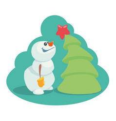 cartoon snowman near the christmas tree with a sta vector image
