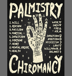 chiromancy hand 03 white on black cs6 vector image