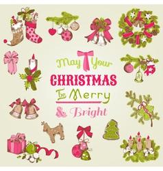 Christmas Card - with set of hand drawn christmas vector