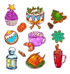 Christmas Food Sketch Set vector image