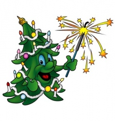 Christmas tree with sparkler vector image