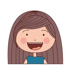 color silhouette smile expression cartoon half vector image
