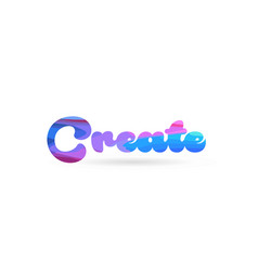 Create pink blue color word text logo icon vector