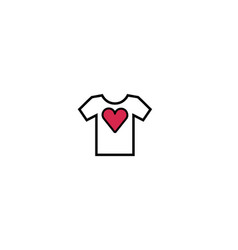 creative tee shirt heart love logo design symbol vector image