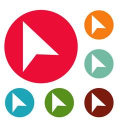 cursor trendy element icons circle set vector image