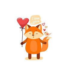 Cute cartoon lovely red fox with pink large heart vector