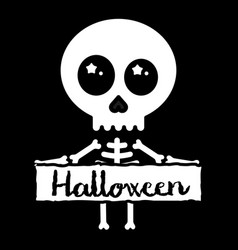 cute kawaii skeleton holding halloween sign vector image