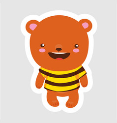 cute little bear in cartoon style wearing bee t vector image