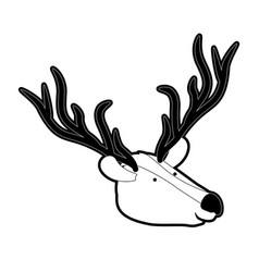 deer cartoon head in black silhouette with thick vector image