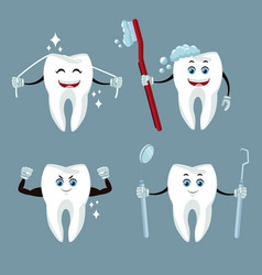 Dental care cartoons and icons vector