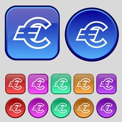 Euro EUR icon sign A set of twelve vintage buttons vector