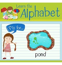 Flashcard alphabet P is for pond vector image