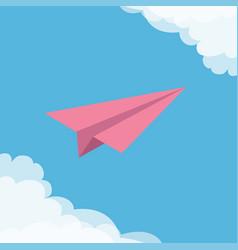 Flying origami pink paper plane cloud in corners vector