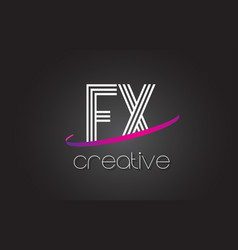 fx f x letter logo with lines design and purple vector image