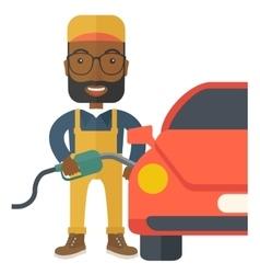 Gasoline boy filling up fuel vector