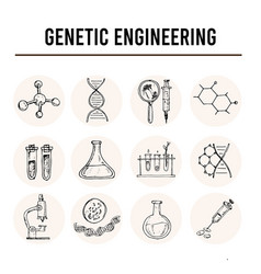 genetic engineering isolated hand drawn doodles vector image