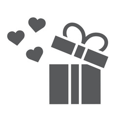 gift glyph icon love and package gift box with vector image