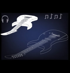 guitar on a blue vector image