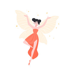 Happy flying fairy or elf in elegant gown isolated vector