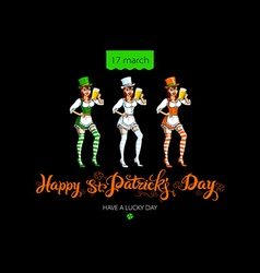 Happy Saint Patricks Day for greeting card vector image