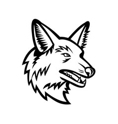 head a maned wolf mascot side view black vector image