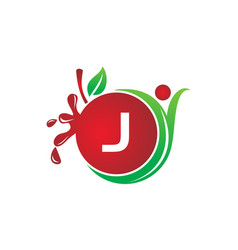 Health fruit juice initial j vector