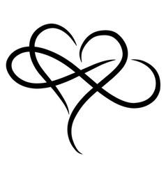 Infinity love design with heart vector