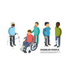 invalids isometric defective adult peoples with vector image