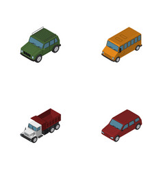 isometric transport set of car armored freight vector image