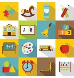 Kindergarten symbol icons set flat style vector image