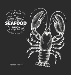 Lobster hand drawn seafood on chalk board vector