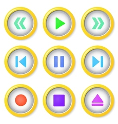 Media player buttons collection vector