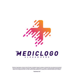 medical tech logo design concept colorful fast vector image