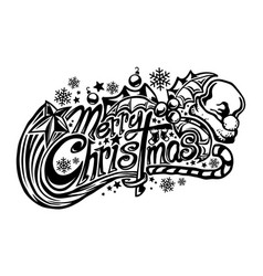 merry christmas text font graphic vector image
