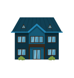 modern dark blue two-story house isolated on white vector image