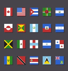 North America flag icon set Metro style vector