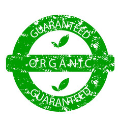 organic guaranteed rubber stamp green vector image