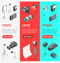 Photo studio equipment signs 3d banner vecrtical vector