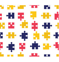 pieces puzzle seamless pattern colorful vector image