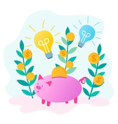 Piggybank save money and glowing bulbs as a vector