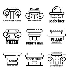 pillar icons set outline style vector image