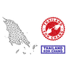 Polygonal carcass koh chang map and grunge stamps vector