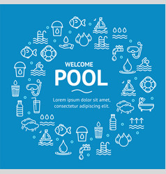 pool and water signs round design template line vector image