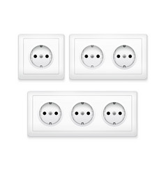 power socket outlet wall plug icon electric round vector image